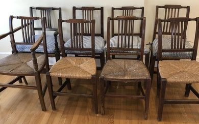 Antique American Sheraton Rush Seat Dining Chairs