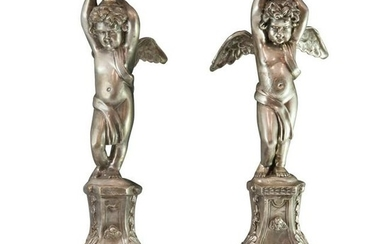 Antique Silver Bronze Candlesticks