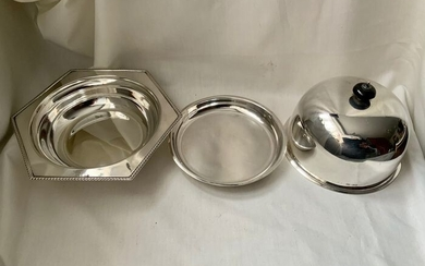 Antique / vintage english Art Deco sterling silver muffin dish / worming food dish ,1931 (1) - .925 silver, Sterling silver all except small top finial small ebony piece - Harrison Brothers & Howson (George Howson) - U.K. - 1931