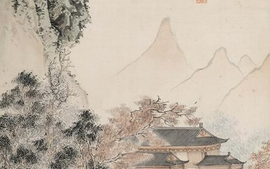 Attributed to Ru Pu (1896-1963 Chinese) Temple