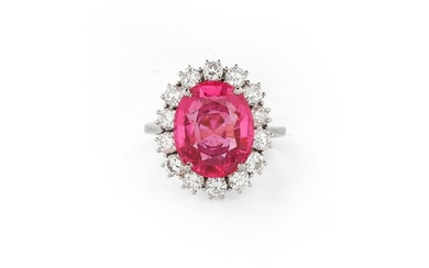 BAGUE TOURMALINE ROSE ET DIAMANTS | PINK TOURMALINE AND DIAMOND RING