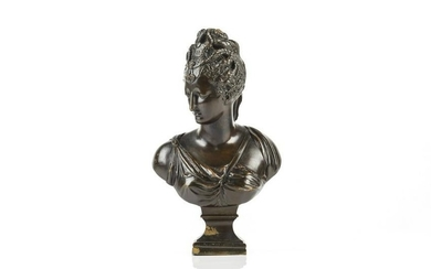 BRONZE BUST OF CLASSICAL WOMAN