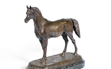 Betoi (French, fl. mid 19th century): A patinated bronze model of an Arab stallion