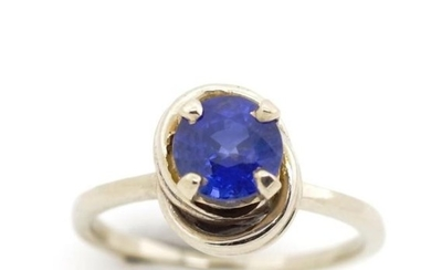 Blue sapphire and 14ct white gold ring marked 14k. Approx sa...