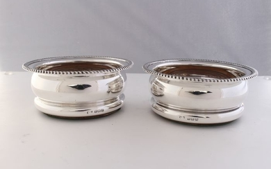 Bottle coaster, Pair Sterling Silver Wine Coasters (2) - .925 silver - Ellis Jacob Greenberg, Birmingham- England - 1911