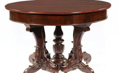 Briggs Carved Mahogany Extension Dining Table