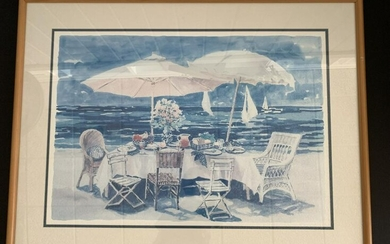 "C. OLSON FRAMED BEACHSIDE PICNIC PRINT 39.5""X30"""