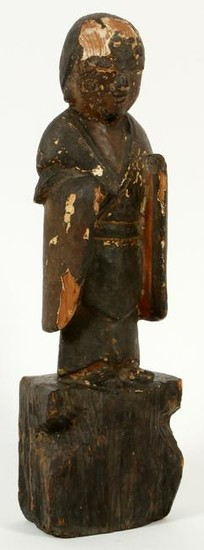 CHINESE HAND CARVED WOOD FIGURE OF AN ELDER