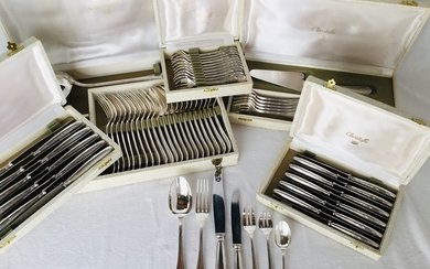 """CHRISTOFLE, Exclusive large cutlery set, 86-piece silver-plated cutlery - Elegant romantic Model """"RUBAN"""", TOP QUALITY in excellent condition!"""