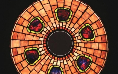 CONTEMPORARY MISSION STYLE LEADED GLASS SHADE.
