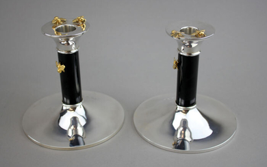 Candlestick, Silver pair of candlesticks (2) - .925 silver - Theo Fennell, London - U.K. - 2010