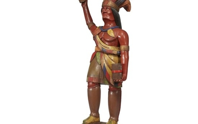 Carved and painted tobacconist figure of a Native American...