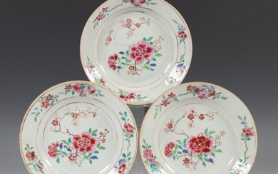 China, a set of three famille pink porcelain...