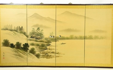 Chinese Hand Painted 4 Panel Wall Screen