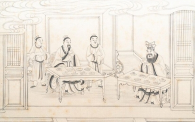 Chinese school, ink on paper, 19th C.: 'Interior scene'