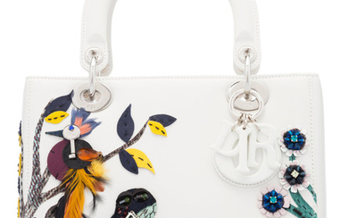 Christian Dior White Leather Bird, Frog & Bee Beaded...