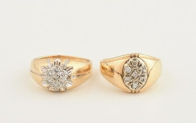 Collection of Two Diamond, 14k Yellow Gold Rings.