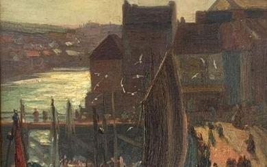 A. W. ENNESS EUROPEAN DOCKSIDE PAINTING