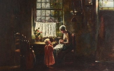 DUTCH GENRE PAINTING WITH MOTHER AND CHILD