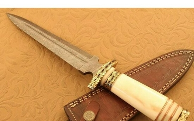Damascus steel knife, bone and brass handle, leather