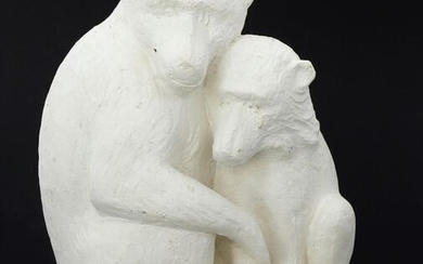"""David MESLY (1918-2004), sculptor - """"Similitude"""", studio plaster showing 2 monkeys, family provenance. H 22 cm. Reproduced on page 30 in bronze, in the book dedicated to the artist, edited by Jean-Paul Villain. Michel Robert was born in Paris on 22..."""