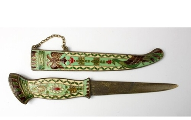 Decorative cloisonne enamel dagger, circa late 19th to early...