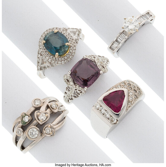 Diamond, Multi-Stone, White Gold Rings The lot consists of...