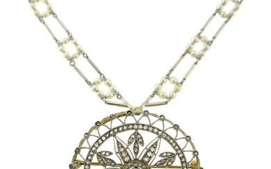 Diamond Platinum Gold Pendant Brooch NECKLACE Pin Seed