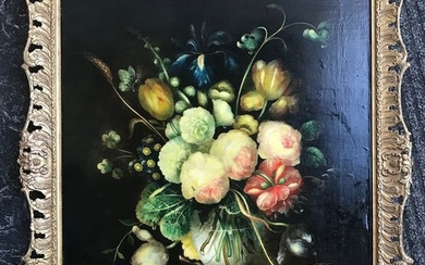 Dutch School XIX - Still life of flowers and insects