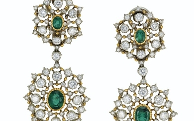 EMERALD AND DIAMOND EARRINGS, BUCCELLATI