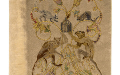 Embroidered Binding.- Morley (Henry) A Bundle of Ballads, ivory silk embroidered in gold thread and coloured silks, 1891.