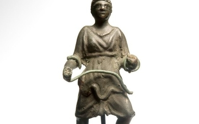 Etruscan/Roman Bronze Charioteer Holding Reins