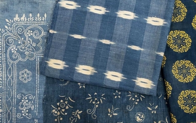 Fabric. A collection of French Ikat material, late 18th/early 19th century