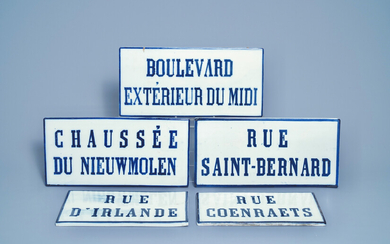 Five blue and white street name signs, Brussels porcelain, 19th C.
