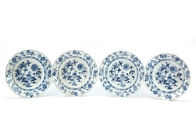 Four Meissen soup plates, each hand painted in the Blue Onio...
