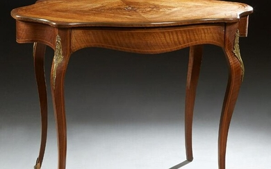 French Inlaid Mahogany Ormolu Mounted Center Table