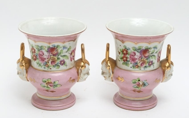 French Porcelain Mantel Urns, Pair