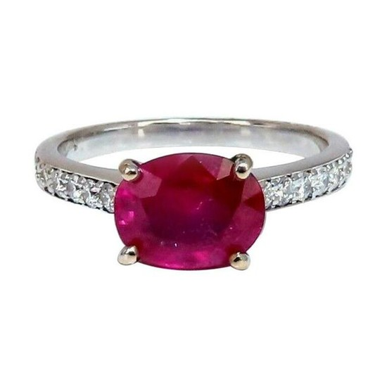 GIA Certified 3.06 Carat Red Ruby Diamonds Ring 14