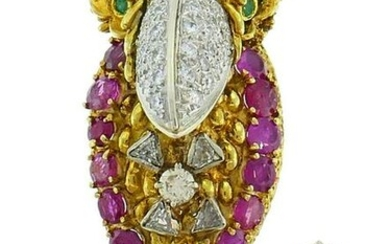 Gold Parrot Bird Pin BROOCH Clip with Diamond Ruby