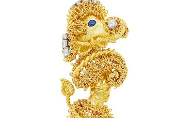 Gold and Diamond Poodle Clip-Brooch