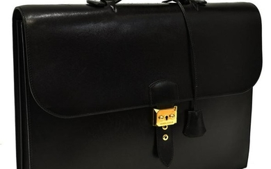 HERMES SAC A DEPECHES BLACK BOX LEATHER BRIEFCASE