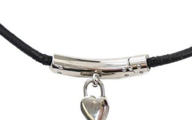 HERMES SILVER-TONE HEART LOCK CHOKER NECKLACE