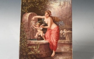 Hand Painted Porcelain Plaque, late 19thc., depicting Venus giving Cupid a bath at a fountain, with two other winged cupids watching from a distance, signed A.Becker. Unframed 6 x 4 in. Condition: Very Good