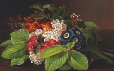 I. L. Jensen: Still life with flowers and beech branches. Signed I. L. Jensen. Oil on mahogany. 20×27.5 cm.