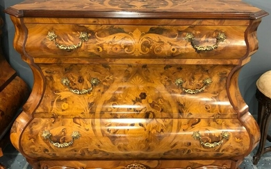 Italian Rococo Style Inlay Bombe Chest of Drawers