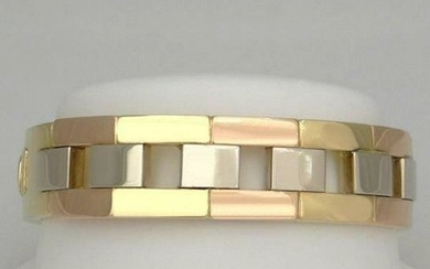 LADIES 18K YELLOW ROSE WHITE TRI GOLD SOLID HARD HINGED
