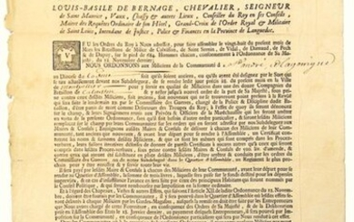 LANGUEDOC. 1734. Order of March 9, 1734 to assemble Six Battalions of MILICE de LANGUEDOC. Order of Louis-Basile DE BERNAGE Lord of St Maurice, Vaux, Chassy... Intendant of Languedoc, to the Militia of St ANDRÉ, and LA GARRIGUE to the Diocese of...