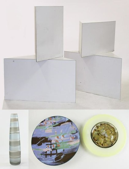 Laminate Cube Tables w/ Pottery and Vase