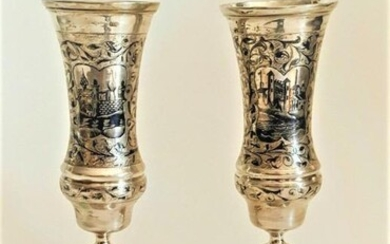Large 19C Pair Russian Silver Niello Goblets