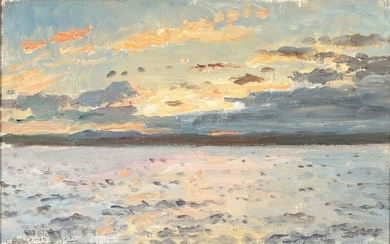 Laurits Tuxen: Seascape with the sun setting on a Scottish coast. Signed and dated L. T. Skotlands Kyst 23. Juni 1921. Oil on canvas. 29×45 cm.